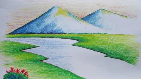 رسم منظر طبيعي باليد كيفية رسم منظر طبيعى يدوى كلام نسوان