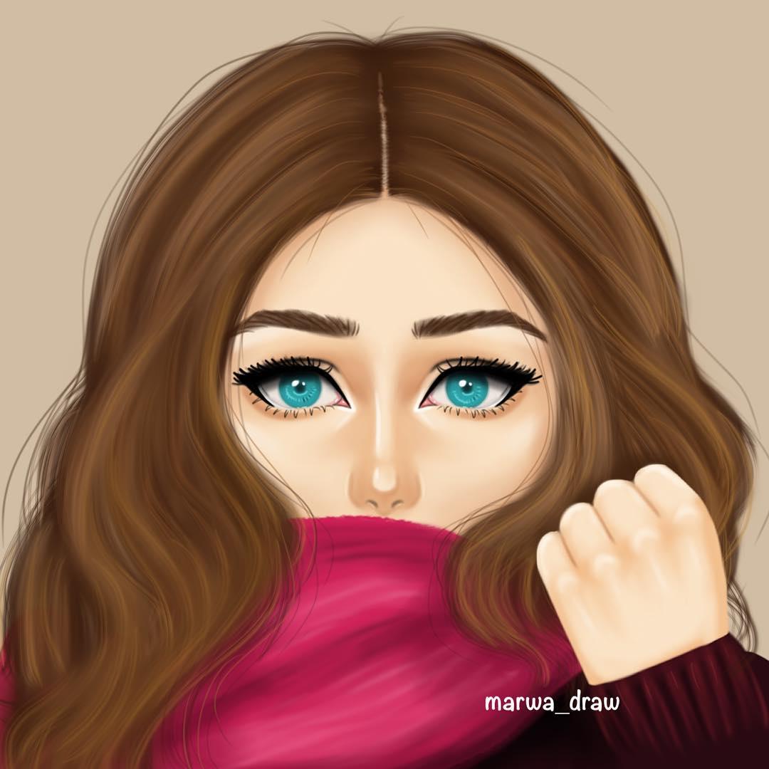 رسومات بنات جميلة اجمل صورة مرسوم عليها اجمل بنت كلام نسوان