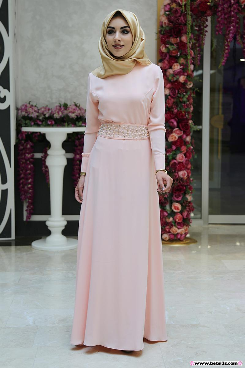 صورة فساتين سواريه للمحجبات 2019 , احدث التصميمات للفستان السهرة