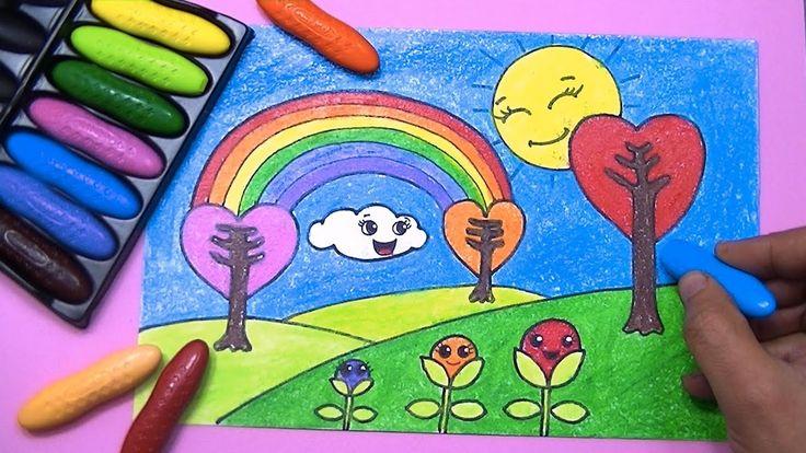 رسم منظر طبيعي سهل للاطفال طريقه بسيطه لتعلم الرسم للاطفال