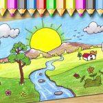 رسم منظر طبيعي سهل للاطفال , طريقه بسيطه لتعلم الرسم للاطفال