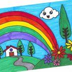 رسم منظر طبيعي للاطفال , اجمل رسومات المناظر الطبيعية