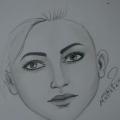 رسم وجه امراة , بالقلم الرصاص رسم مبسط لوجة المراة