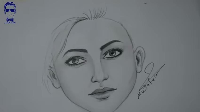 صورة رسم وجه امراة , بالقلم الرصاص رسم مبسط لوجة المراة