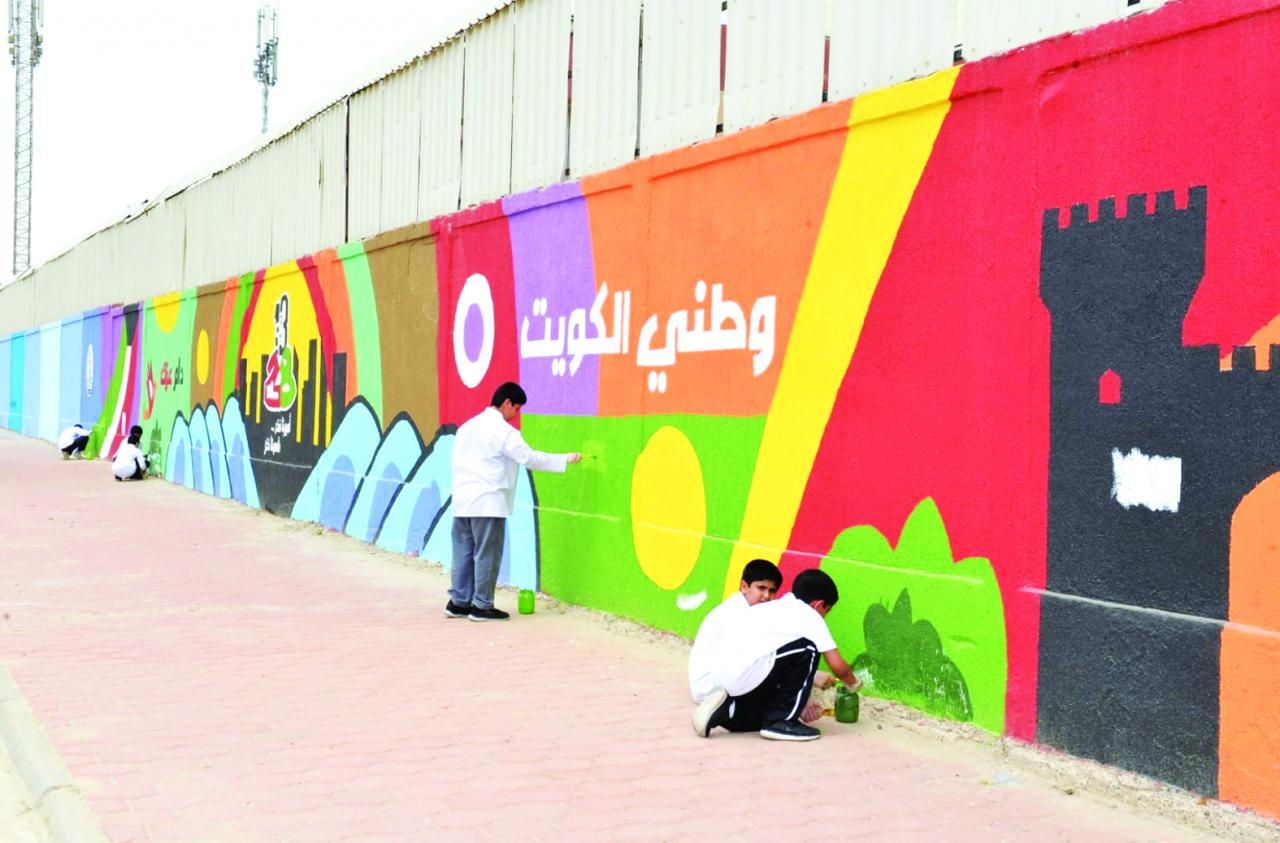 صورة تزيين جدران المدرسة , واو رسومات جميله لحوائط المدارس