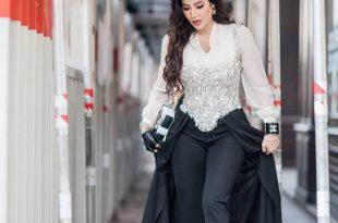 صورة ملابس لجين عمران , اعلاميه جميله ولبسها علي الموضه